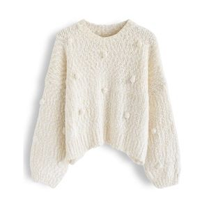 NWT Chicwish Pom Pom Crop Knit Sweater